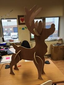 Plywood standing Rudolph decoration.