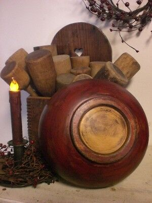 Primitive Red Wooden Dough Bowl - Wood Bowl