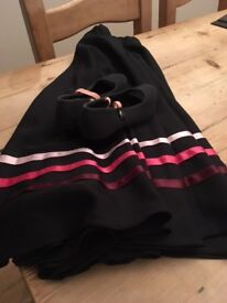 Age 11/12 - Royal Ballet Character Skirt and black canvas healed shoes (1.5)