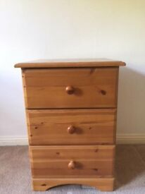 Pair of three drawer solid bedside tables / chest of drawers