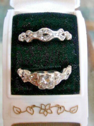 Vintage Wedding Diamond Rings Bridal Set 18K White Gold With Box
