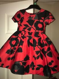 Girls Red & Black Party Dress Age 1-2 years