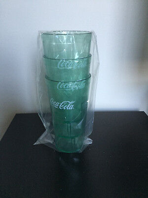 New (3) Coke Coca Cola Restaurant Green Plastic Tumblers Cups 20 oz Carlisle](Plastic Tumbler Cups)
