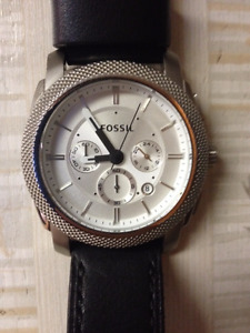 Fossil Machine Chronograph Black Leather Watch - Great Condition