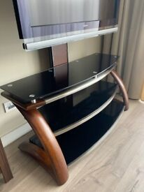 Black Glass / Brown Wood TV Stand with Wall Bracket