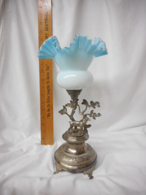 Victorian Brides Basket Blue Opalescent Glass Attached Figural Silverplate Base