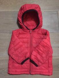 Used Gap ColdControl Lite red puffer hoodie, size 6-12 month