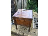 Antique wood storage stool /former Commode stool