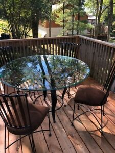 Wrought Iron Dining room table and 4 chairs