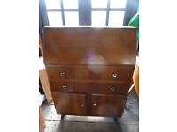 Vintage Bureau For Sale 2 Drawers Cupboard Compartments a good upcycling paint project Shabby Chic