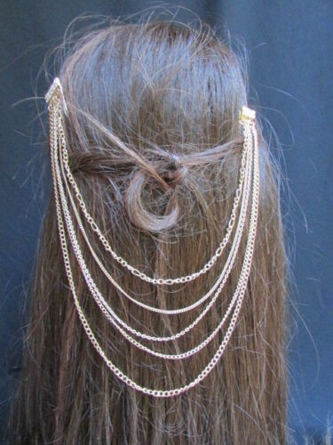 WOMEN GOLD HEAD METAL CHAINS FASHION JEWELRY HAIR SILVER SPE