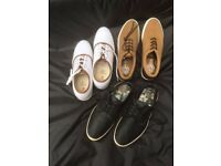 3 pairs of River Island and Next Size 10 Mens casual lace up plimsolls, two pairs brand new