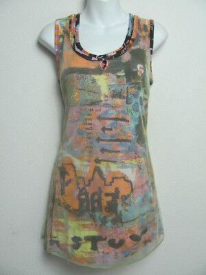 Parsley & Sage Womens Tank Top Layered Mesh Bright Bold Print Size S