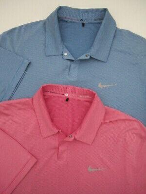 Lot 2 Mens Medium Nike TW Tiger Woods Control Stripe Polo blue pink snap shirt