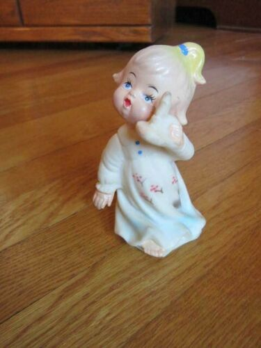 Vintage Sweet Girl Child w/Candle Hollow Rubber Doll Decoration 5""