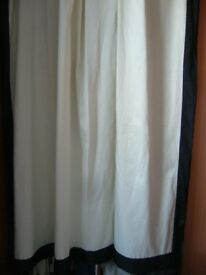 pair creamy white lined curtains with black border edge -- southbourne