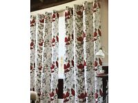 BRAND NEW FULLY LINED EYELET POPPY CURTAINS 228WX137D