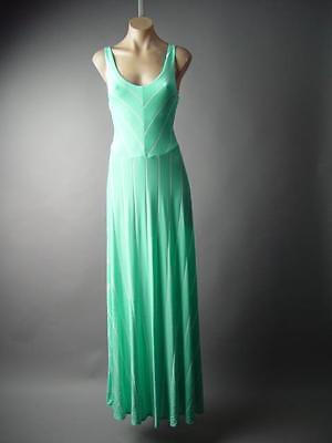 Pastel Mint Green White Stripe Goddess Flared Skirt Long Maxi 148 mv Dress - Green Goddess Dress