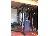 Free standing Rbk punch bag stand with punch bag and speedball