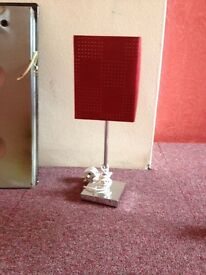 Lamp x 2 red suedette with chrome stand. Square shade. Suitable in bedroom lounge or hallway