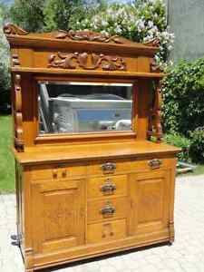 Antique solid oak buffet with mirrored hutch