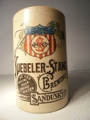 Kuebeler Stang Brewing Company Sandusky Ohio Beer Mug Crystal Rock Spring Water