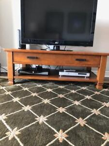 Pottery Barn solid wood coffee table and matching end tables