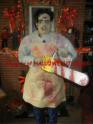 ANIMATED 6 FOOT LEATHERFACE TEXAS CHAINSAW MASSACRE HALLOWEEN PROP RARE  (AS-IS) - Chainsaw Halloween