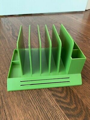 Max Klein Vintage Plastic Green Desk Table Letter Office Pen Organizer Mcm