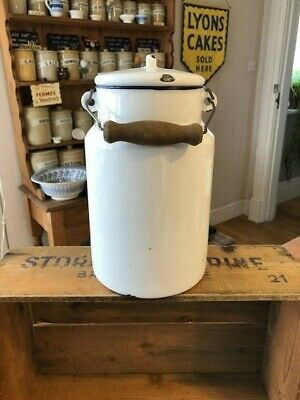 Vintage Tall White Enamel Milk Can / Carrier – Wooden Handle – Kitchenalia!