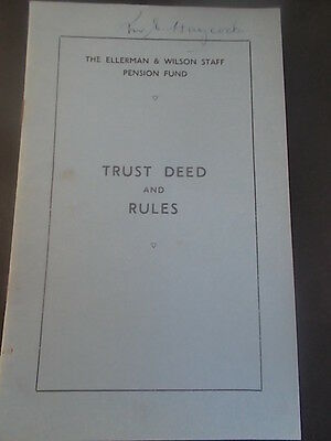 Vintage 1946 ELLERMANS & WILSON Shipping Line Pension Fund Rules ELLERMAN LINES