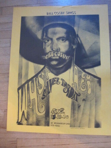 BILL COSBY Sings Silver Throat Whisky A Go Go concert poster 22x28