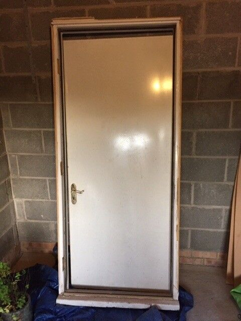 Used Metal Rear Garage Door And Frame Collection Only In