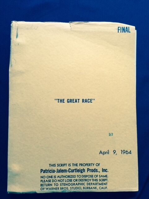 THE GREAT RACE - ORIGINAL SCRIPT BY BLAKE EDWARDS
