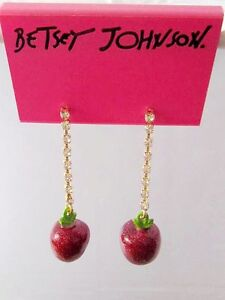 E307 Betsey Johnson Gem Dangling Apple Eden Garden Apple Earrings  US