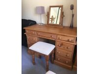 Pine Dressing Table & Stool - Solid Pine - 1990s