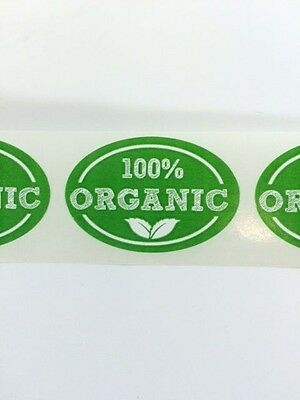 50 1 X 1.5 Oval 100 Organic Oval Labels Stickers New 100 Organic Stickers New