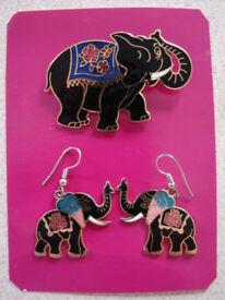 NEW Enamel Elephant Brooch & Earrings