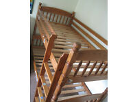 Bunk bed, wooden, minor repair. Can take apart to transport and re-assemble.