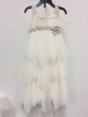 New Girl's Biscotti Ivory Flower Ribbon Dress Pageant Wedding ](Biscotti Flower Girl Dresses)