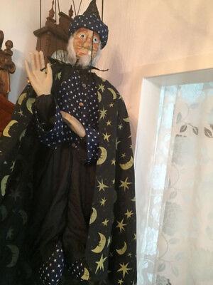 Marionette Puppe Zauberer aus Holz  Stoff  1 M Hexenmeister Hexer männliche Hexe