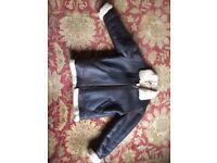 Soft leather fleece flying jacket