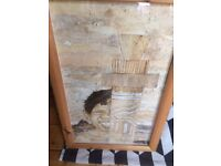 An Original , Aboriginal Work of Art - Bark Collage (Circa 1970) Professionally Framed