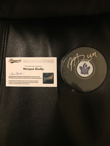 Morgan Rielly autographed puck with COA from Frameworth