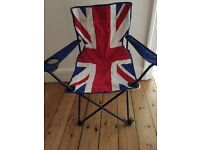 Pair brand new Union Jack camping chairs folding