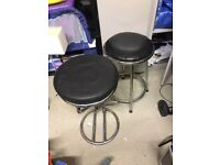 Bar Stools x2 but not twins, black, good condition