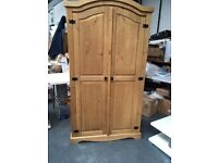 "BRAND NEW ""CORONA"" SOLID PINE DOUBLE WARDROBE"