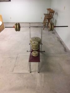 Barbells and bench