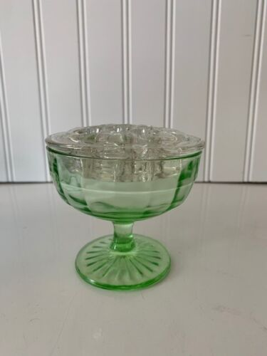 Depression Glass Green Footed Sherbet Bowl AH Optic Block / 11 Hole Flower Frog