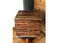 Antique solid wood small chest of drawers and bed box.
